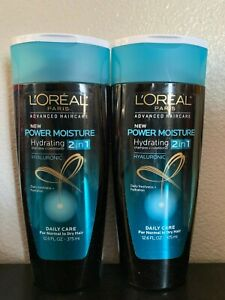 Lot-of-2-L-039-OREAL-Power-Moisture-Hydrating-2-in-1-Shampoo-Conditioner-12-6-FL-Oz