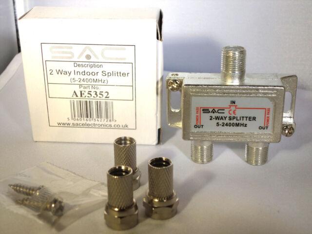 2 WAY TV AERIAL SATELLITE SPLITTER VIRGIN SKY DIGITAL FREE 3 X F PLUGS