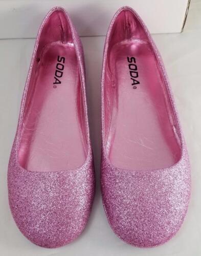 Soda Afar IIS Girls Youth Pink Glitter Slip on Ballet Flats Shoes