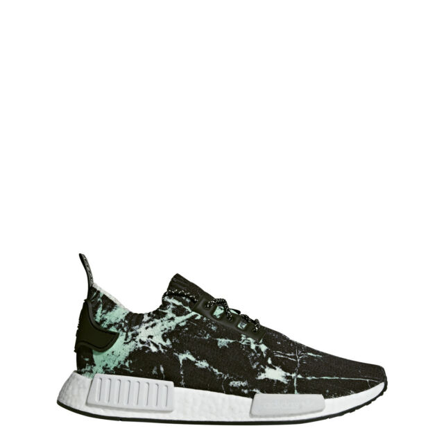 new styles d21a9 b6888 adidas NMD R1 PK Marble Mens Bb7996 Aero Green Black Primeknit Shoes Size 5