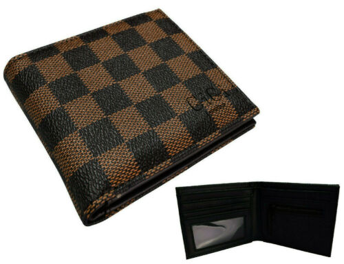 Damier Check Designer Wallet Brown Faux Leather ID Card Cash Zip Coin Pouch 201