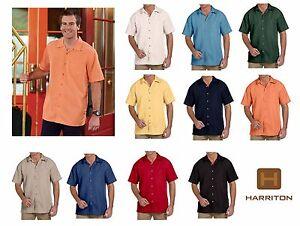 25ed780e1450b1 Harriton Men's Barbados Textured Camp (cubavera like) Shirt XS-6XL ...