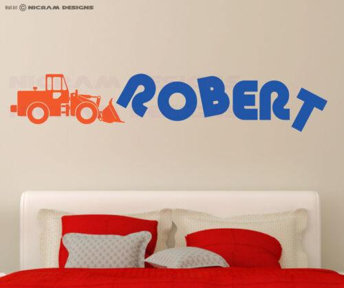 Custom Boys Any Name Bedroom Wall Art Bulldozer Sticker Crawler Building Site