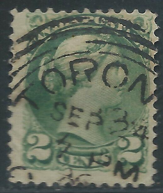 Canada #36(5) 1872 2 cent green QUEEN VICTORIA 4 RING TORONTO ONTARIO