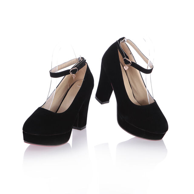 Hot Womens Mary Janes Round Toe Chunky Block High Heels Pumps Shoes Plus Size YE