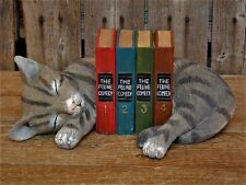 Sleeping Cat Bookends with Secret Key Holders Country Folk Art NIB
