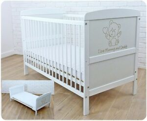new arrivals 706c7 47367 Details about New White Wodden Baby Cot Bed 120 x 60 cm /mattress/ teething  rails - RRP £149