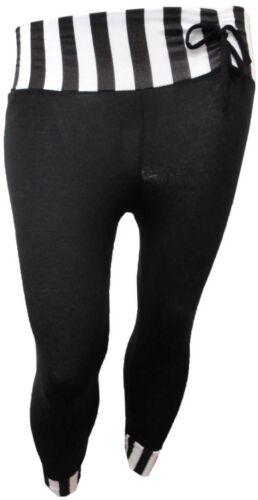 NEW WOMENS PLUS SIZE BLACK STRIPE PRINT 3//4 BOW TIE LEGGINGS TROUSERS 12-26