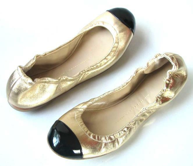 Nuevo  590 Giuseppe Zanotti oro Cuero Negro Puntera Puntera Puntera Flats zapatos 36 6  para proporcionarle una compra en línea agradable
