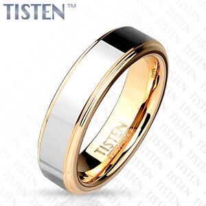 Tisten Tungsten Titanium 2 Tone Silver Rose Gold Ip