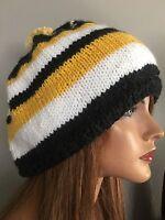 Beanie Slouch Hat Hand Knit Designer Fashion Hip Winter Stripes Ski Snow