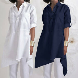 Mode-Femme-Loisir-Chemise-Haut-Revers-Manche-Longueur-Ajustable-Asymetrique-Plus