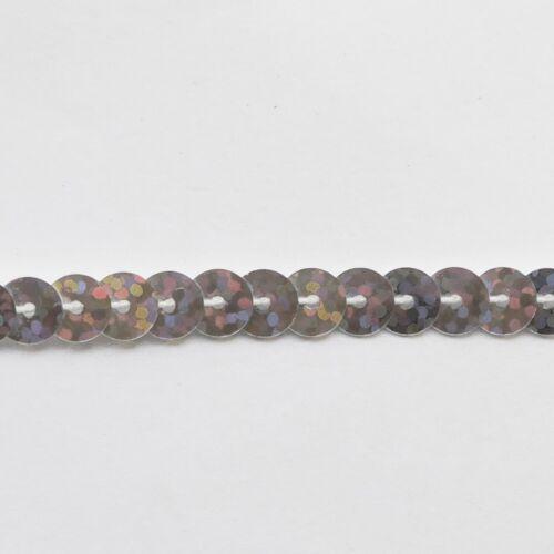 "Silver Hologram Sparkle Sequin Trim 6mm 1//4/"" wide stitched strung on yard 15/'"