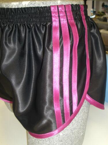 Magenta Retro Nylon Satin Sprinter Shorts S to 4XL Black
