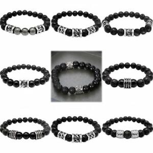 Men-039-s-Jewelry-Gift-Lava-Stone-Lion-Buddha-Skull-Beaded-Charm-Bracelet-Bangle-New