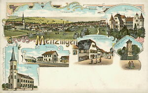 Ansichtskarte-Menzingen-um-1900-Bahnhof-Specereigeschaeft-Nr-848