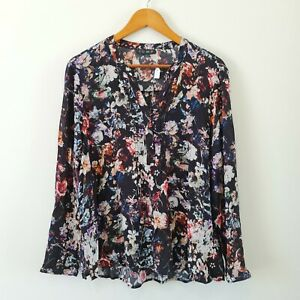 JUMP-Women-039-s-Blouse-Black-Floral-Printed-Piping-Shirt-Long-Sleeve-Size-16