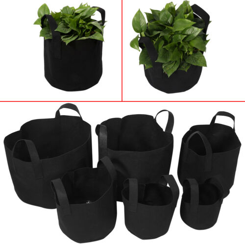 Round Fabric Pots Plant Veg Pouch Root Container Grow Bag Garden Container SH