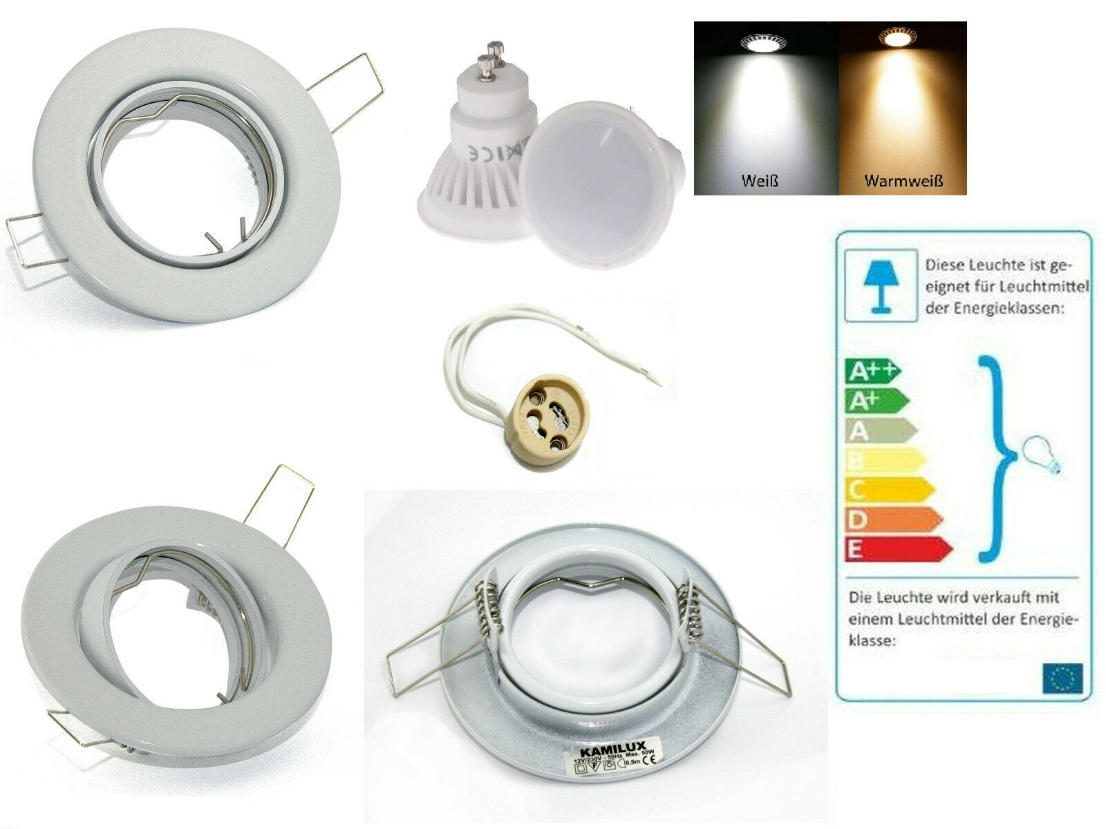 9 Watt LED Einbaustrahler Lia   720 Lumen   230Volt   Farbe Weiss