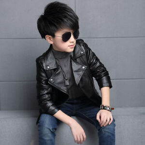New Fashion Autumn Winter Clothing Toddler Kids Boys Cool Leather
