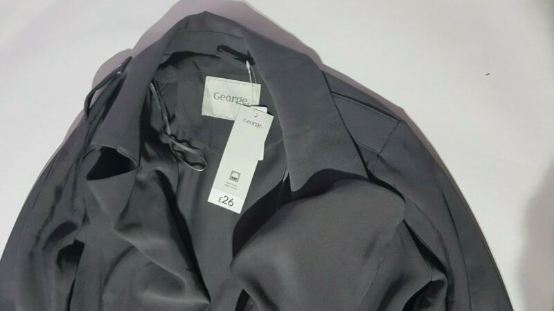 Asda George Grey Womens Stone Trench Coat Size 10 Oversize Brand New Can Be Repeatedly Remolded.