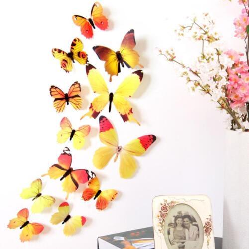 3d Murale Papillons PVC 12 pièces différentes couleurs