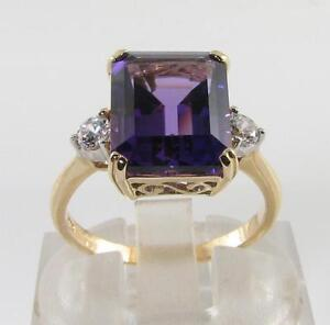 LARGE-9K-9CT-GOLD-11mm-x-9mm-AMETHYST-DIAMOND-ART-DECO-INS-RING-FREE-RESIZE