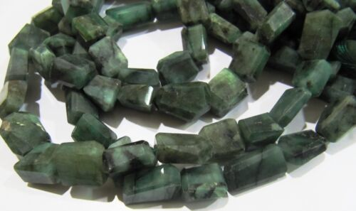 Natural Emerald Laser Cut Nugget Shape Beads 8 to 14 mm Strand 8 inches long.