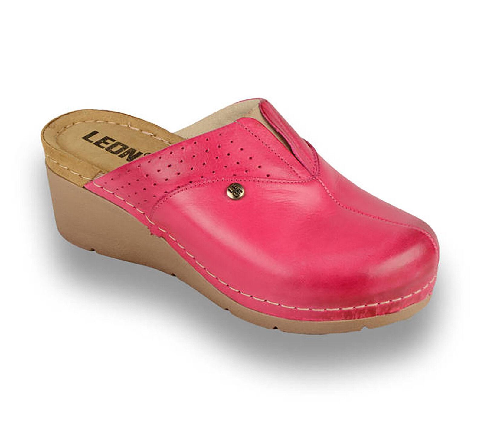 LEON 1002 Donne Donna in Pelle Infilare rosa Muli Zoccoli Pantofole Sandali, rosa Infilare NUOVO REGNO UNITO 92d360