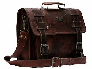 545acdf55832 Mens Brown Leather Satchel Messenger Bag 15 Inch Laptop Briefcase ...
