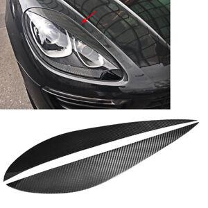 2xSchwarz-Scheinwerferblenden-Tuning-fuer-Porsche-Macan-14-18-Boeser-Blick-Blenden