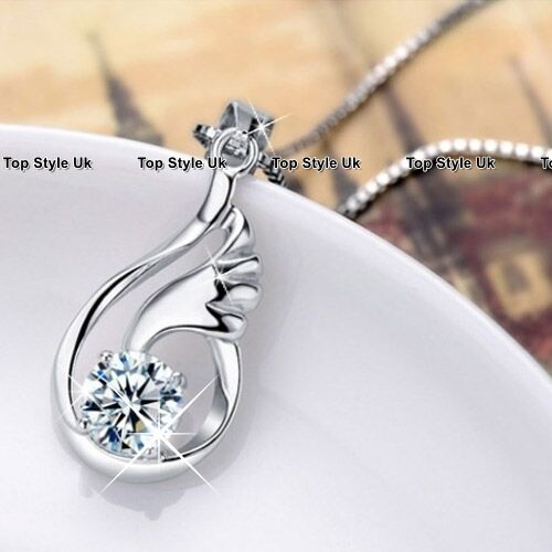 925 Sterling Silver Angel Wings Necklace Pendant Chain Jewelry Birthday Gift /<3