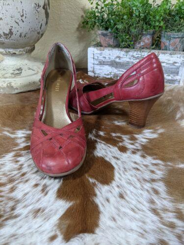 Vintage Nine West Red Leather Block Heels