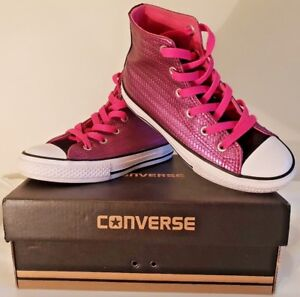 b9a560fb2f8ead CONVERSE ALL STAR HI TOPS TRAINERS WOMENS PINK SAPPHIRE WOVEN SIZE ...