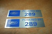 Ford Powered By 289 Valve Cover Decals Pair Silver Blue Mustang Fairlane