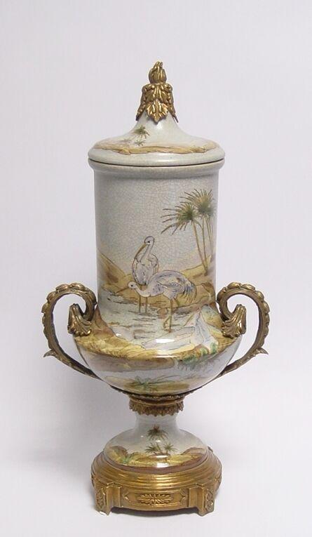 99937870-dss Messing Keramik Amphore Vase Störche Jugendstil prunkvoll 25x46cm