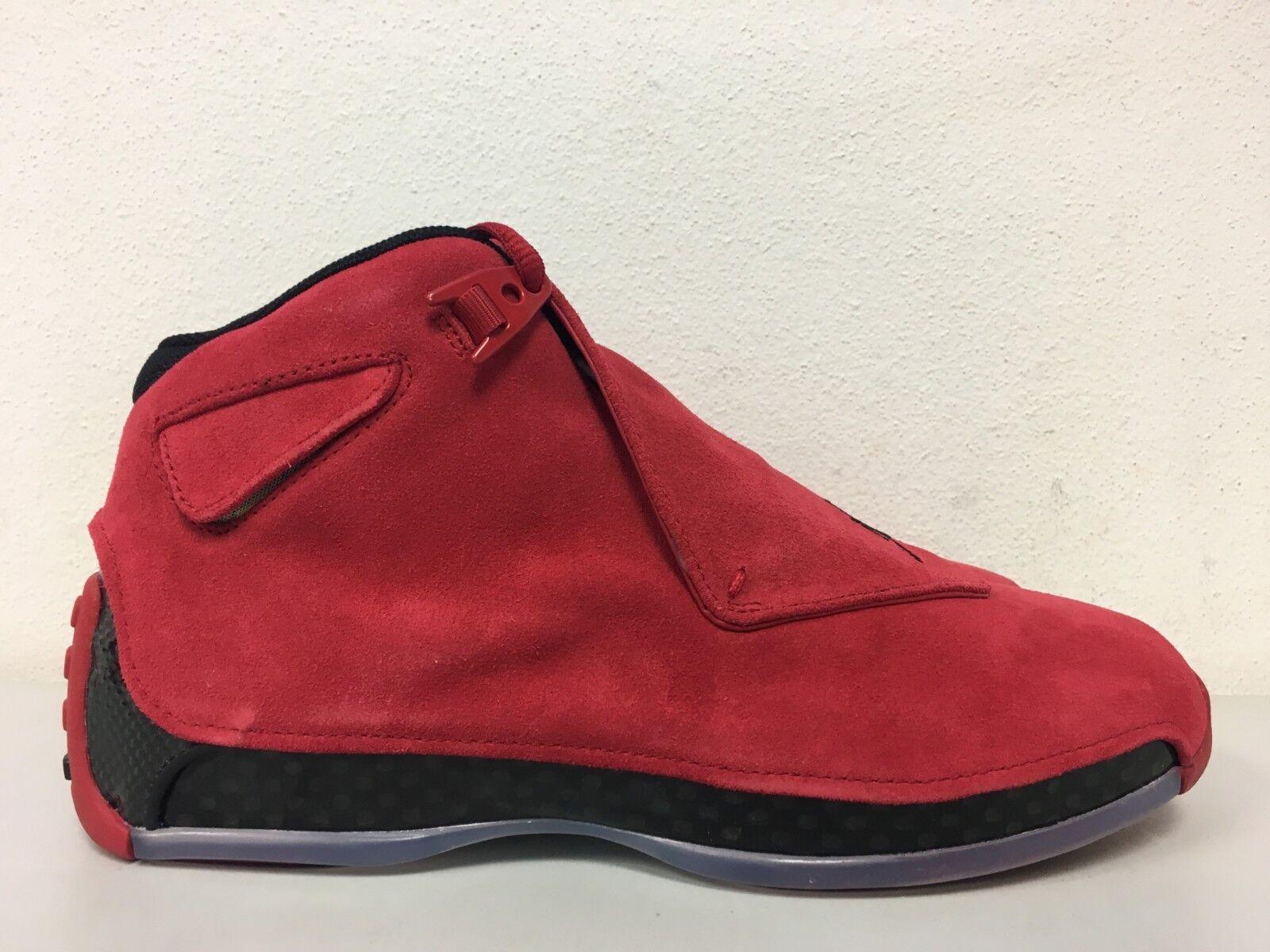 Nike Air Jordan 18 Retro XVIII Tgold Gym Red Suede Black AA2494-601 Size 8.5