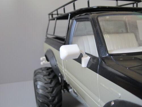 Pair White Rubber Side Mirror Tamiya RC 1/10 Toyota Hilux Bruiser Trailfinder