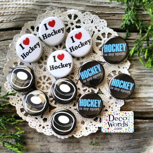 """1 1//4/"""" PINBACK Buttons USA NEW Party Favor for your Team 12 Hockey Pins"""