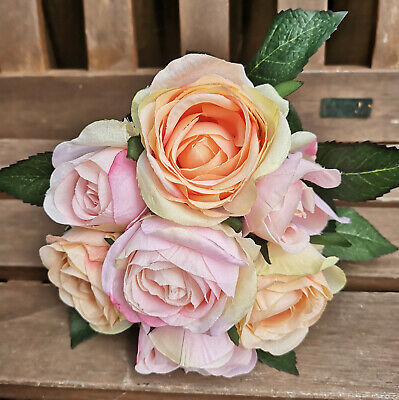 Imparziale Rose Inglesi Rosa Albicocca Rose Mazzo Di Rose Fiori Seta Arte Fiori Rosa-