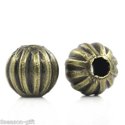 "200PCs Metal Spacer Beads Pumpkin Round Ball Bronze Tone 6mm(2/8"")Dia."