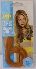 "HAIR ACCESSORY FINE HUMAN HAIR POP CLIP IN COLOR STRIPS 16""(41 CM) GOLD 1PK"