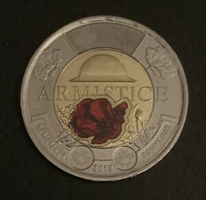 2018-Armistice-TOONIE-2-Two-Dollar-Coin-Red-Colour-Canada-Uncirculated