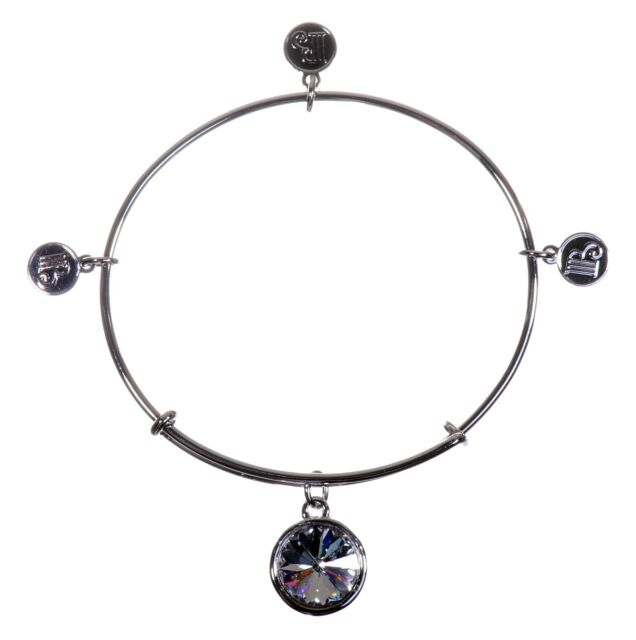 Swarovski Elements Crystal Expandable Wire Charm Bangle Bracelet Rhodium 7125y