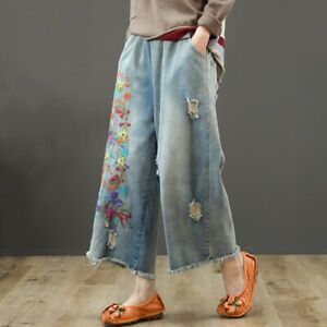 Retro-Women-Denim-Floral-Loose-Pants-Wide-Leg-Ripped-Jeans-Embroidery-Baggy-Pant