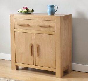 solid wood chunky oak small compact sideboard cupboard