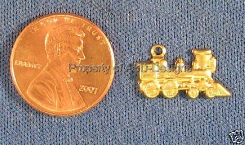 50pc Raw Brass Amtrak Locomotive Train Charms 4661