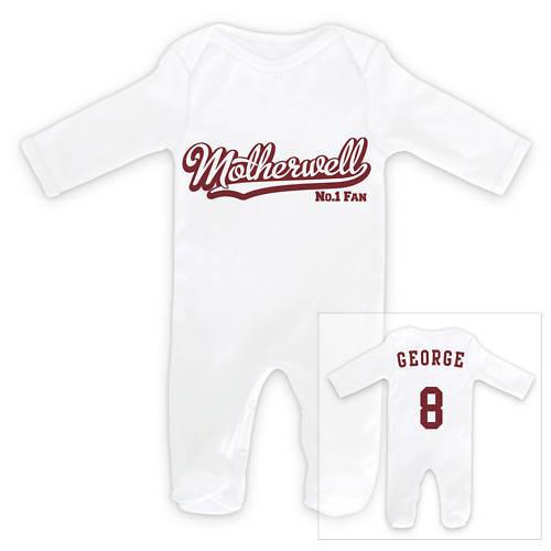 MOTHERWELL FOOTBALL Personnalisé Baby Sleepsuit