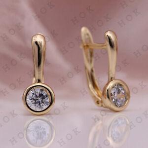 Bezel-Solitaire-Hoop-Earrings-1-00-Ct-Round-Cut-Diamond-14k-Yellow-Gold-Finish