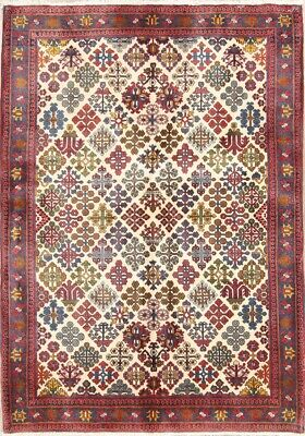 Modest All Over Geometric 4x8 Vegetable Dye Wool Meymeh Abadeh Oriental Rug 5' 2 X 3' 8 Antiques